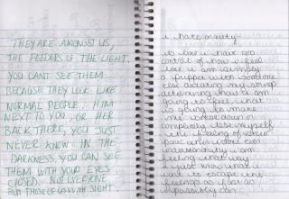 A pair of diaries kept by a disturbed young woman recording delusions of being stalked by demons, rantings about the New World Order and 9-11, descriptions of bulimic episodes, numerology computations, anxiety about rival lovers, graphic descriptions of sexual activity, confessions of self-loathing, and more