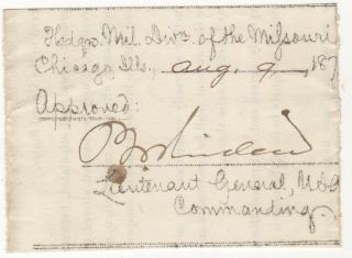 SENIOR INDIAN WARS GENERALS ALLOW THEIR SUBORDINATES TO TAKE A DAY FOR THEMSELVES; Two passes signed by Lieutenant General Philip Sheridan and one pass signed by Brevet Major General John Pope