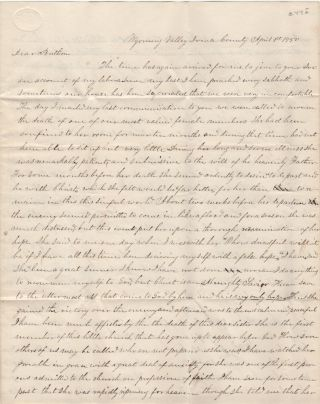 """FOLLOWING AN UNSUCCESSFUL REVIVAL, A DISHEARTENED MISSIONARY PREACHER LAMENTS, """"AFTER I LEFT THERE I WEPT OVER THE LOSS OF SUCH AN OPPORTUNITY OF WINNING SOULS TO CHRIST; Letter from a Presbyterian minister in the heart of Wisconsin's lead-mining district to the secretary of the American Home Missionary Society"""