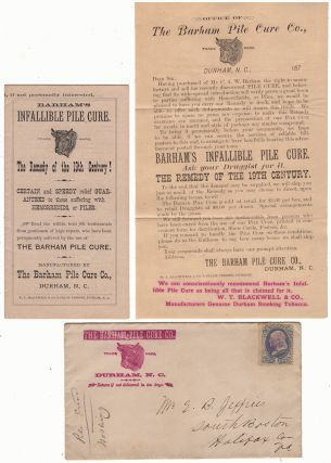 "BULL DURHAM TOBACCO PROMOTES AN ""INFALLIBLE PILE CURE, THE REMEDY OF THE 19TH CENTURY! CERTAIN..."