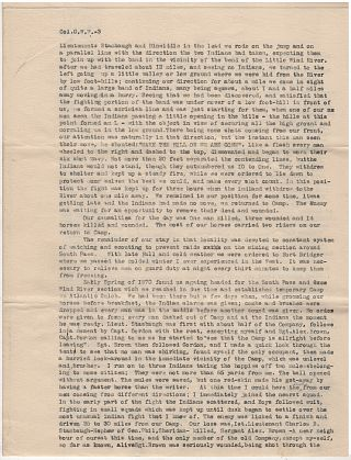 """INDIAN WARS & MONTANA TRAIL ARCHIVE - """"MAIL DELIVERED WITHOUT THE LOSS OF MY HAIR, BUT WIT A BULLET HOLE THROUGH THE STOCK OF MY GUN. . .. IT WAS A VERY CLOSE CALL FOR MY HEAD."""""""
