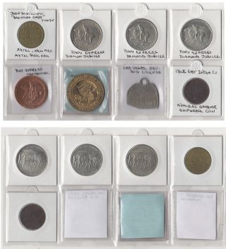 WESTERN TRADE TOKEN COLLECTION WITH ADDITIONAL EXONUMIA. . . . Good for a loaf of bread, a game of pool, half-pint of cream, or a roll in the hay