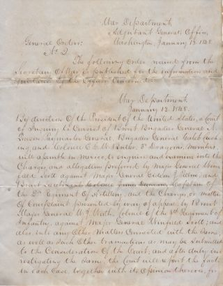 """""""GENL GANALIS THE ROBBER AND ASSASSIN WAS DRIVEN, DAY AFTER DAY, FROM RANCHO TO RANCHO UNTIL HE COULD FIND NO REST IN HIS OWN NATIVE MOUNTAINS"""" - A small archive of letters sent to Colonel Edward G. W. Butler during his command of the 3rd U.S. Regiment of Dragoons during the Mexican-American War"""