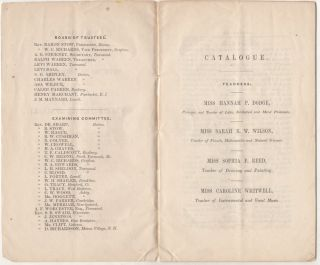 """A SCHOOL OF THE FIRST ORDER, AND A DELIGHTFUL RESORT FOR YOUNG LADIES, WHO WISH TO RECEIVE A THROROUGH AND FINISHED EDUCATION."""" Catalogue of the Officers and Students of the Townsend Female Seminary, for the Year Ending August 1847 mailed to a physician in Massachusetts."""