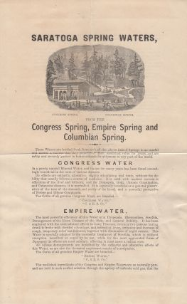 """""""SARATOGA SPRING WATERS . . . THESE WATERS ARE BOTTLED FRESH FROM EACH OF THE SPRINGS IN SO CAREFUL AND SECURE A MANNER THAT THEY PRESERVE ALL THEIR MEDICINAL VALUE FOR YEARS"""" – Advertising circular for bottle spring water sent by the inventor of time zones to the most important professor at Hamilton College"""