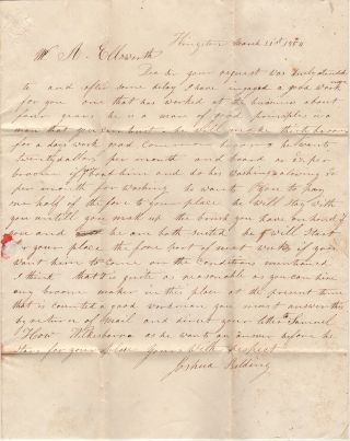 """""""HE WILL MAKE THIRTY BROOMS FOR A DAYS WORK [AND] WANTS TWENTY DOLLARS PER MONTH AND BOARD OR 2½c PER BROOM."""" Letter from a hiring agent notifying a gentleman in Lycoming County, Pennsylvania that he has a found a knowledgeable and trustworthy broom maker for his employ"""