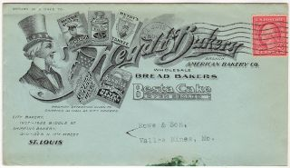 """""""5¢ PER LOAF"""" – Very attractive postal advertising showing logos from one of the seven bakeries that merged together in 1907 to create a virtual monopoly of the St. Louis bread business"""