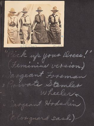 """""""'PICK UP YOUR DRESS!' (FEMININE VERSION)'"""" – Photograph album documenting life at the National Service School for girls, a quasi-official, paramilitary program designed to prepare young women for service in support of the U.S. military during World War One"""