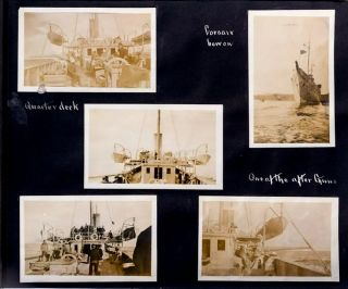 """""""TAKING SURVIVORS ABOARD . . . FINLAND AFTER BEING TORPEDOED."""" A terrific photographic record J. P. Morgan's yacht, the USS Corsair, which was leased by the Navy during World War One to serve as an escort and patrol ship"""