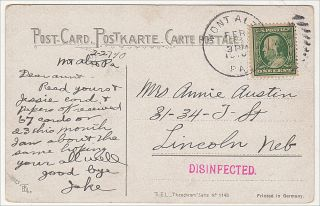 """""""RECEIVED 67 CARDS . . . I AM ABOUT THE SAME HOPING YOU ARE ALL WELL."""" """"Disinfected"""" post card sent from a patient at the Mt. Alto Tuberculosis Sanatorium to family at home"""