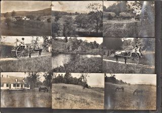 """THE """"OLDEST INDIAN WITH ANY CIRCUS"""" A comprehensive and very nicely composed photograph album documenting rural life in New Hampshire including a visit by the 101 Ranch Wild West Show. Unidentified compiler. Claremont, New Hampshire: 1900s-1919."""