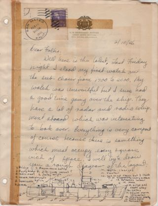 """""""DEAR FOLKS, WELL HERE IT IS THE END OF THE SECOND DAY AND QUITE A BIT OF WATER HAS GONE OVER THE DAM ALREADY."""" Huge four-year correspondence archive from a cadet enrolled at the U.S. Merchant Marine Cadet Basic School at San Mateo, California as it transitioned into U.S. Merchant Marine Academy and consolidated operations at Kings Point, New York"""