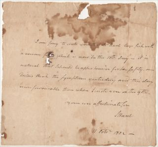 """""""MRS. WARD LAYS SICK WITH A NERVOUS FEVER WHICH IS NOW IN THE 10TH DAY."""" Letter from the son of a former colonial governor of Rhode Island informs a former state governor of Rhode Island that his wife, the Governor's daughter, was seriously ill from Typhoid Fever"""