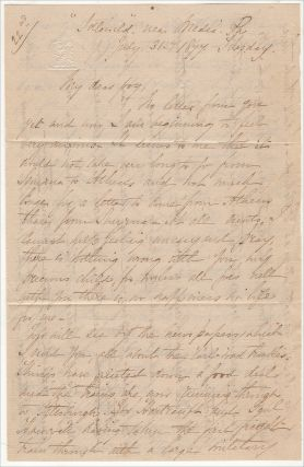 """""""ON ONE OCCASION THEY MET 14 MILES THIS SIDE OF ALTOON MORE THAN 200 STRIKERS."""" Letter from a prominent Pennsylvania woman to her overseas Naval Officer son describing the Philadelphia City Troop's response to the Great Railroad Strike of 1877"""