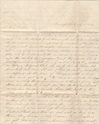 """""""IF SHE LOOKS AND SEES ME SCRATCHING THIS INSTEAD OF CYPHERING SHE WILL GIVE ME A TASK. . .."""" A precocious young girl's detailed letter to her brother describing a day-long class excursion by """"car"""" and boat from Wilmington, Delaware to Havre De Grace, Maryland"""