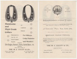 """""""HANDSOME AND HIGH GRADE COLLARS FOR OFFICERS, LODGE DEPUTIES AND MEMBERS"""" – A mail-order package of advertising materials for the Independent Order of Good Templars (I.O.G.T.), the most important and successful temperance organization of the 19th century"""