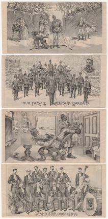 """""""FULL OF FUN . . . ORIGINAL SITUATIONS . . . DRAMATICALLY TOLD . . . UNLIMITED WIT, MUSIC, AND LAUGHTER."""" A ten-panel illustrated similitude advertising a touring performance of A Social Session featuring the Imperial Black Hussar band and Grand Star Orchestra. A. J. Sprague, Manager"""