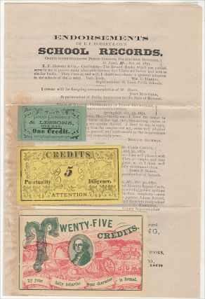 """""""THE SCHOOL MANAGEMENT TICKETS AND REWARD CARDS . . . CANNOT FAIL IN SECURING THE VERY BEST RESULTS."""" Packet of advertising materials for teaching products including samples of """"Credit"""" tickets for rewarding academic success, punctuality, diligence, and character"""
