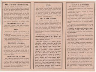 """""""KANSAS / THE BEST PART OF THE WEST TO BUY A GRAIN FARM . . . STOCK FARM . . . SHEEP RANCH . . . OPEN A STORE, OR TO PRACTICE A PROFESSION."""" The Immigrants' Guide to the Most Fertile Lands of Kansas. . .."""